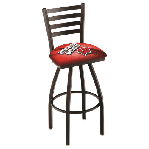 "30"" Black Wrinkle Wisconsin (Design 2) ""W"" Swivel Bar Stool with Ladder Style Back by Holland Bar Stool Co.; UPC: 071235009090"