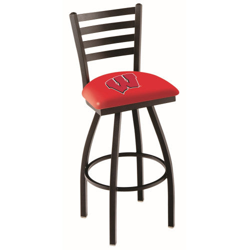 "25"" Black Wrinkle Wisconsin ""W"" Swivel Bar Stool with Ladder Style Back by Holland Bar Stool Co.; UPC: 071235001988"
