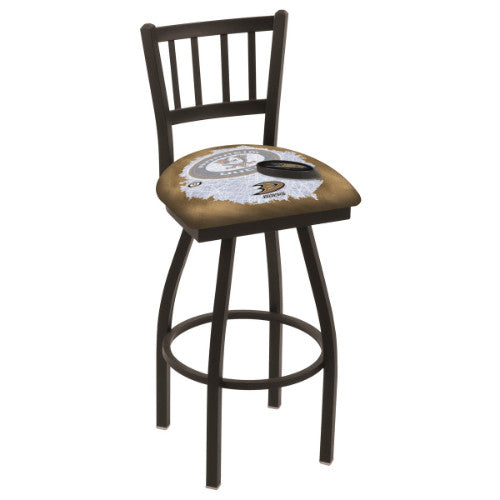 "30"" Black Wrinkle Anaheim Ducks (Design 2) Swivel Bar Stool with Jailhouse Style Back by Holland Bar Stool ; UPC: 071235017477"