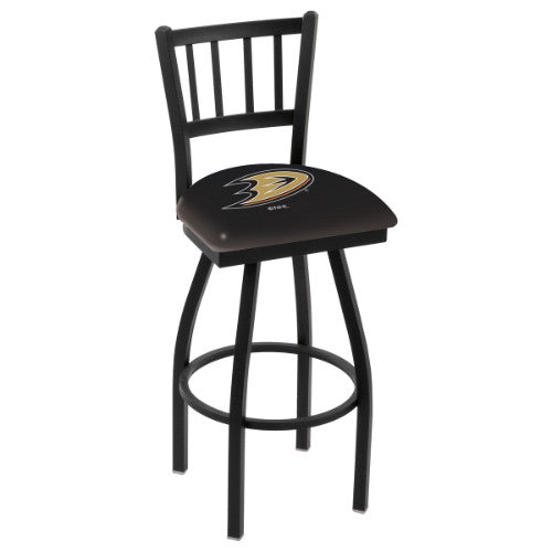 "30"" Black Wrinkle Anaheim Ducks Swivel Bar Stool with Jailhouse Style Back by Holland Bar Stool ; UPC: 071235012410"