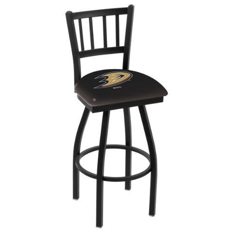 "36"" Black Wrinkle Anaheim Ducks Swivel Bar Stool with Jailhouse Style Back by Holland Bar Stool ; UPC: 071235013981"