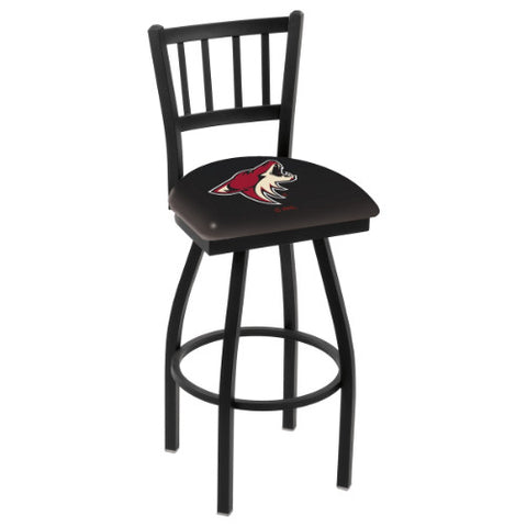 "36"" Black Wrinkle Arizona yotes Swivel Bar Stool with Jailhouse Style Back by Holland Bar Stool ; UPC: 071235014001"