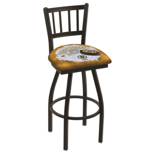 "36"" Black Wrinkle Boston Bruins (Design 2) Swivel Bar Stool with Jailhouse Style Back by Holland Bar Stool ; UPC: 071235019280"