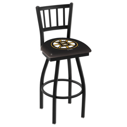 "36"" Black Wrinkle Boston Bruins Swivel Bar Stool with Jailhouse Style Back by Holland Bar Stool ; UPC: 071235014100"