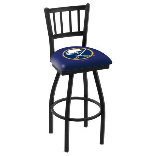 "30"" Black Wrinkle Buffalo Sabres Swivel Bar Stool with Jailhouse Style Back by Holland Bar Stool ; UPC: 071235012458"