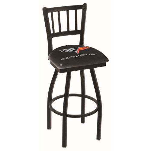 "25"" Black Wrinkle Corvette C6 Black Swivel Bar Stool with Jailhouse Style Back by Holland Bar Stool Co.; UPC: 071235013127"