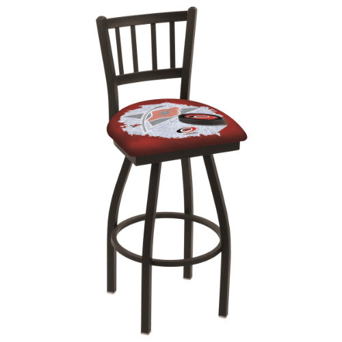 "30"" Black Wrinkle Carolina Hurricanes (Design 2) Swivel Bar Stool with Jailhouse Style Back by Holland Bar Stool ; UPC: 071235017644"