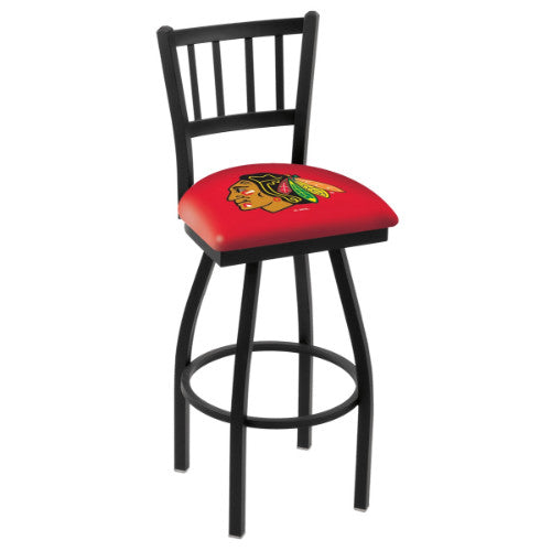 "36"" Black Wrinkle Chicago Blackhawks Swivel Bar Stool with Jailhouse Style Back by Holland Bar Stool ; UPC: 071235014223"