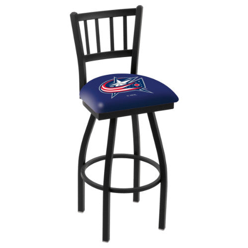 "30"" Black Wrinkle lumbus Blue Jackets Swivel Bar Stool with Jailhouse Style Back by Holland Bar Stool ; UPC: 071235012571"