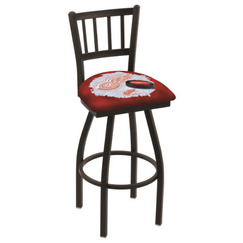 "36"" Black Wrinkle Detroit Red Wings (Design 2) Swivel Bar Stool with Jailhouse Style Back by Holland Bar Stool ; UPC: 071235019495"