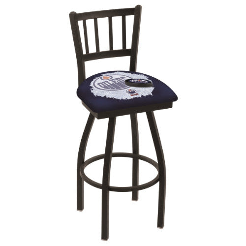 "25"" Black Wrinkle Edmonton Oilers (Design 2) Swivel Bar Stool with Jailhouse Style Back by Holland Bar Stool ; UPC: 071235016142"