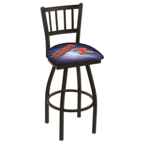 "25"" Black Wrinkle Illinois (Design 2) Swivel Bar Stool with Jailhouse Style Back by Holland Bar Stool Co.; UPC: 071235016302"