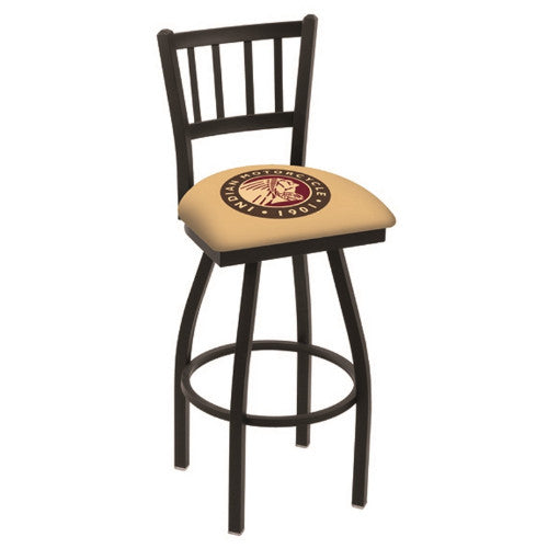 "36"" Black Wrinkle Indian Motorcycle Swivel Bar Stool with Jailhouse Style Back by Holland Bar Stool Co.; UPC: 071235014582"