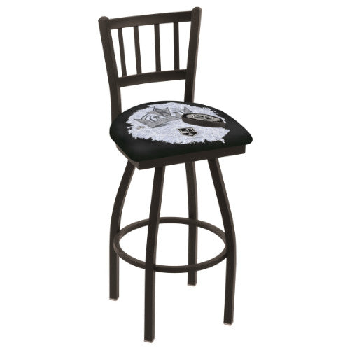 "30"" Black Wrinkle Los Angeles Kings (Design 2) Swivel Bar Stool with Jailhouse Style Back by Holland Bar Stool ; UPC: 071235018092"