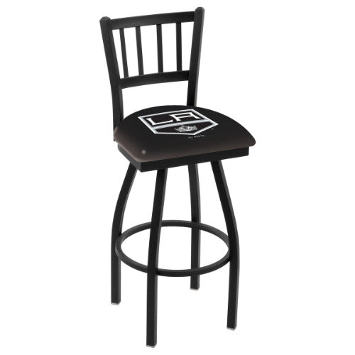 "30"" Black Wrinkle Los Angeles Kings Swivel Bar Stool with Jailhouse Style Back by Holland Bar Stool ; UPC: 071235012670"