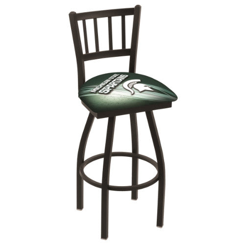 "36"" Black Wrinkle Michigan (Design 2) State Swivel Bar Stool with Jailhouse Style Back by Holland Bar Stool Co.; UPC: 071235019891"
