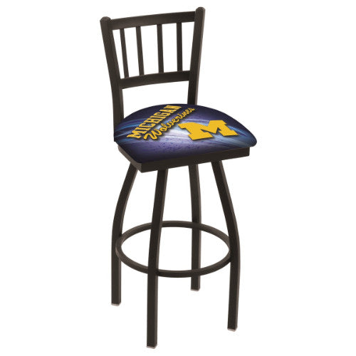 "36"" Black Wrinkle Michigan (Design 2) Swivel Bar Stool with Jailhouse Style Back by Holland Bar Stool Co.; UPC: 071235019907"