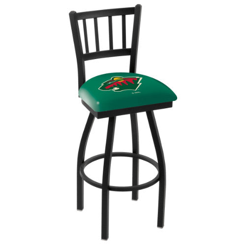 "25"" Black Wrinkle Minnesota Wild Swivel Bar Stool with Jailhouse Style Back by Holland Bar Stool ; UPC: 071235012687"