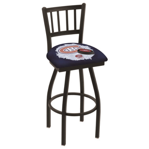 "25"" Black Wrinkle Montreal Canadiens (Design 2) Swivel Bar Stool with Jailhouse Style Back by Holland Bar Stool ; UPC: 071235016555"