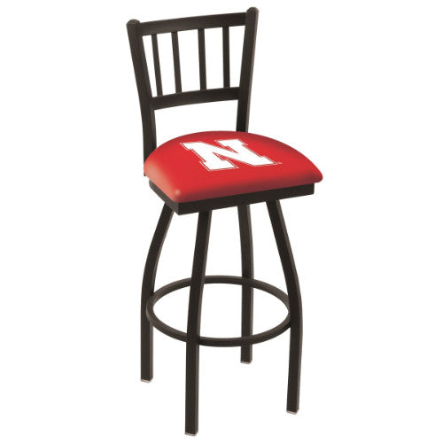 "30"" Black Wrinkle Nebraska Swivel Bar Stool with Jailhouse Style Back by Holland Bar Stool Co.; UPC: 071235011574"