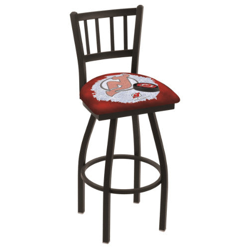 "30"" Black Wrinkle New Jersey Devils (Design 2) Swivel Bar Stool with Jailhouse Style Back by Holland Bar Stool ; UPC: 071235018436"