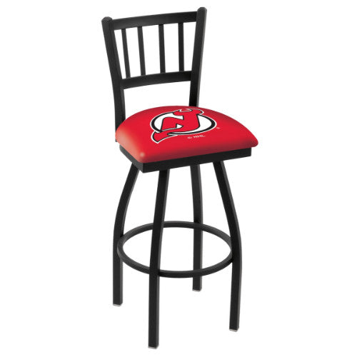 "30"" Black Wrinkle New Jersey Devils Swivel Bar Stool with Jailhouse Style Back by Holland Bar Stool ; UPC: 071235012755"