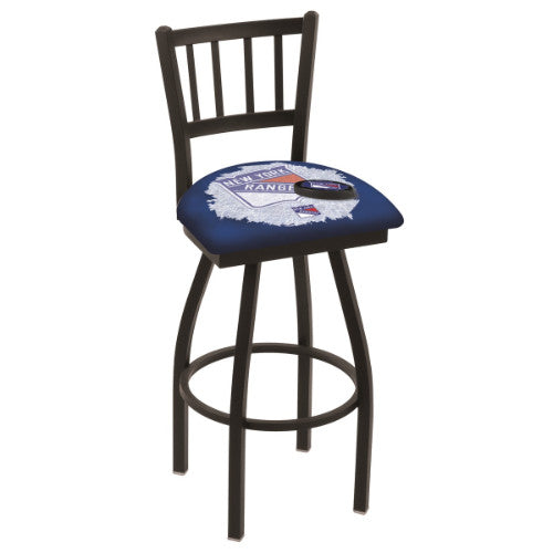 "36"" Black Wrinkle New York Rangers (Design 2) Swivel Bar Stool with Jailhouse Style Back by Holland Bar Stool ; UPC: 071235801670"
