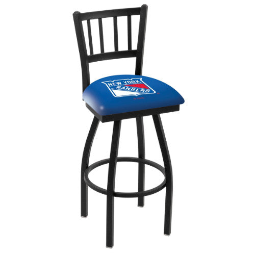 "25"" Black Wrinkle New York Rangers Swivel Bar Stool with Jailhouse Style Back by Holland Bar Stool ; UPC: 071235012786"