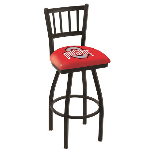 "25"" Black Wrinkle Ohio State Swivel Bar Stool with Jailhouse Style Back by Holland Bar Stool Co.; UPC: 071235010706"