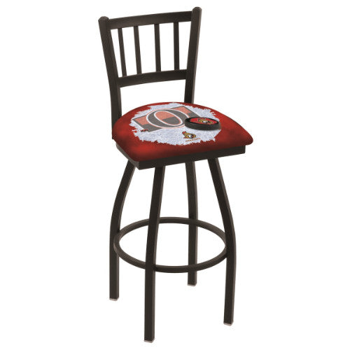 "30"" Black Wrinkle Ottawa Senators (Design 2) Swivel Bar Stool with Jailhouse Style Back by Holland Bar Stool ; UPC: 071235018573"
