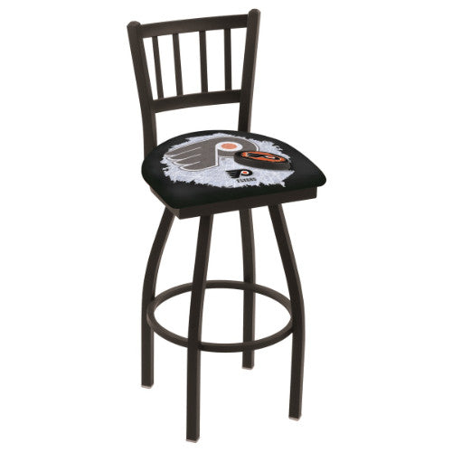 "36"" Black Wrinkle Philadelphia Flyers (Design 2) Swivel Bar Stool with Jailhouse Style Back by Holland Bar Stool ; UPC: 071235801748"