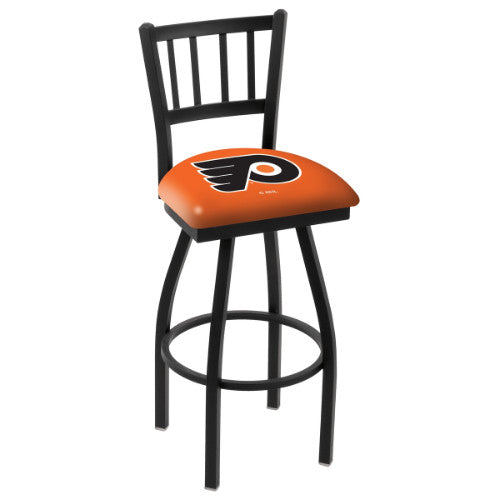 "25"" Black Wrinkle Philadelphia Flyers Swivel Bar Stool in Orange with Jailhouse Style Back; UPC: 071235012847"