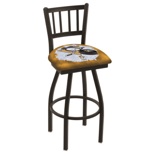 "30"" Black Wrinkle Pittsburgh Penguins (Design 2) Swivel Bar Stool with Jailhouse Style Back by Holland Bar Stool ; UPC: 071235018610"