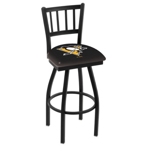 "36"" Black Wrinkle Pittsburgh Penguins Swivel Bar Stool with Jailhouse Style Back by Holland Bar Stool ; UPC: 071235015206"