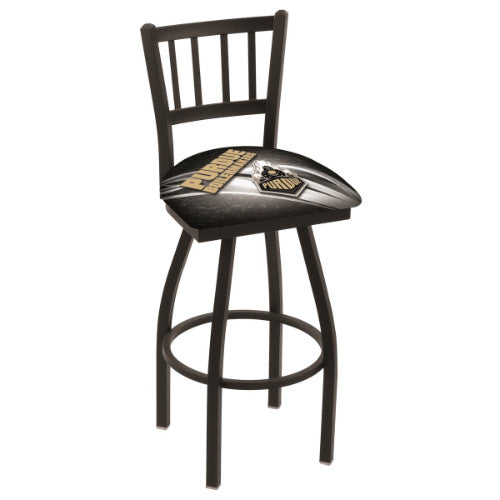 "25"" Black Wrinkle Purdue (Design 2) Swivel Bar Stool with Jailhouse Style Back by Holland Bar Stool Co.; UPC: 071235016937"