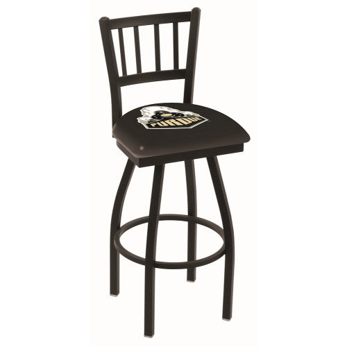 "30"" Black Wrinkle Purdue Swivel Bar Stool with Jailhouse Style Back by Holland Bar Stool Co.; UPC: 071235010812"