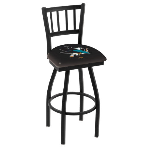 "25"" Black Wrinkle San Jose Sharks Swivel Bar Stool with Jailhouse Style Back by Holland Bar Stool ; UPC: 071235012908"