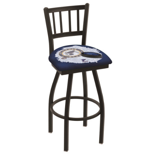 "36"" Black Wrinkle St Louis Blues (Design 2) Swivel Bar Stool with Jailhouse Style Back by Holland Bar Stool ; UPC: 071235801878"