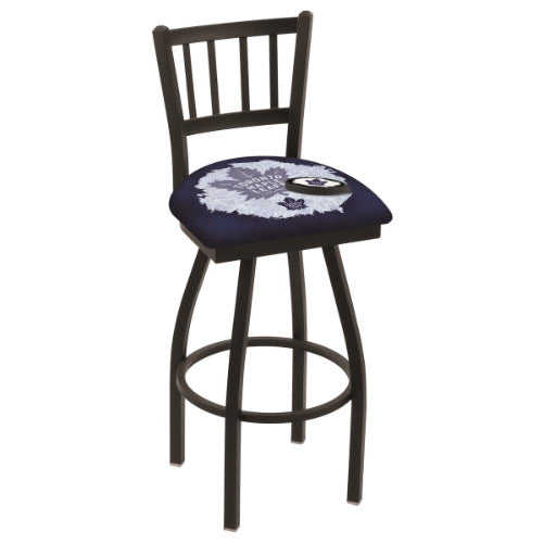 "36"" Black Wrinkle Toronto Maple Leafs (Design 2) Swivel Bar Stool with Jailhouse Style Back by Holland Bar Stool ; UPC: 071235801953"
