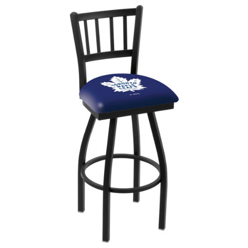 "25"" Black Wrinkle Toronto Maple Leafs Swivel Bar Stool with Jailhouse Style Back by Holland Bar Stool ; UPC: 071235012960"