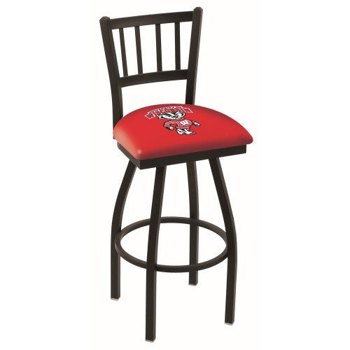 "25"" Black Wrinkle Wisconsin ""Badger"" Swivel Bar Stool with Jailhouse Style Back by Holland Bar Stool Co.; UPC: 071235011963"