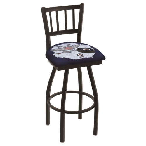"36"" Black Wrinkle Winnipeg Jets (Design 2) Swivel Bar Stool with Jailhouse Style Back by Holland Bar Stool ; UPC: 071235802226"