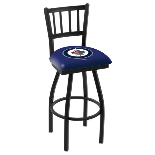 "36"" Black Wrinkle Winnipeg Jets Swivel Bar Stool with Jailhouse Style Back by Holland Bar Stool ; UPC: 071235015671"