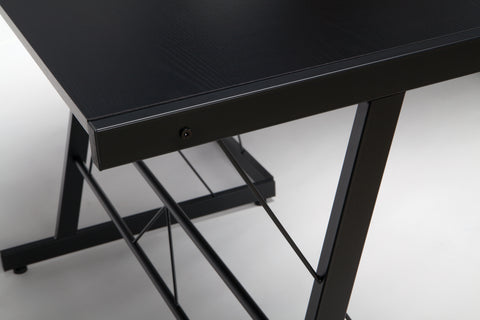 "OFM Essentials Collection 60"" Metal Frame L-Shaped Desk, Corner Computer Desk, in Black (ESS-1021 -BLK-BLK) ; UPC: 192767000079 ; Image 7"