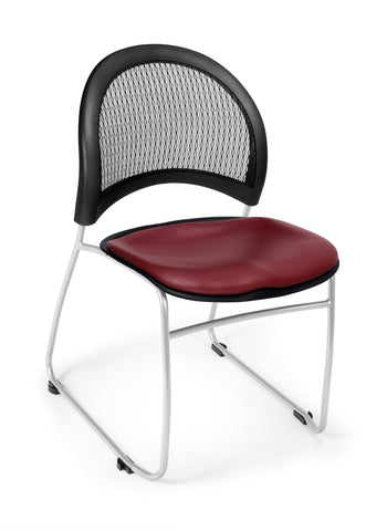 OFM Moon Series Model 335-VAM Anti-Microbial/Anti-Bacterial Vinyl Stack Chair, Wine ; UPC: 845123005606 ; Image 1