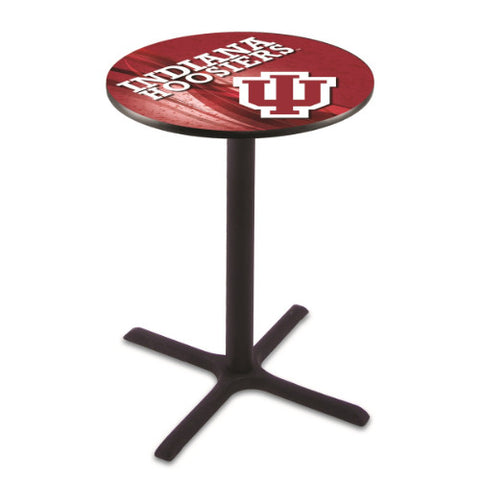"36"" Black Wrinkle Indiana Pub Table (Design 2) w/ 36"" Dia Top by HBS ; UPC: 071235846749"