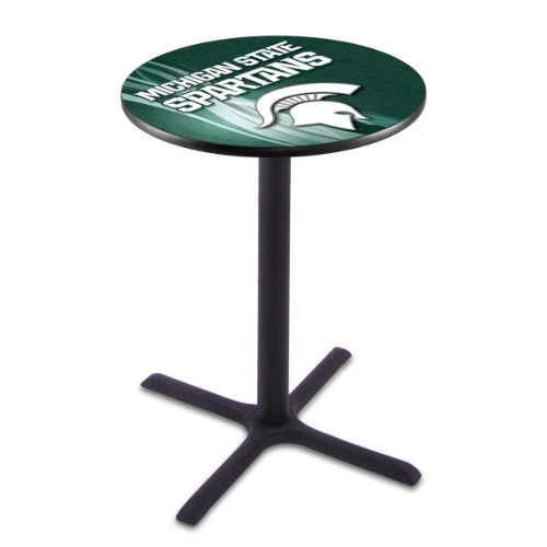 "42"" Black Wrinkle Michigan State Pub Table with 28"" Dia Top by HBS ; UPC: 071235830571"