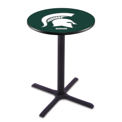 "36"" Black Wrinkle Michigan State Pub Table with 36"" Dia Top by HBS ; UPC: 071235024987"