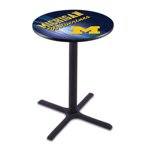 "36"" Black Wrinkle Michigan Pub Table (Design 2) with 36"" Dia Top; UPC: 071235846923"