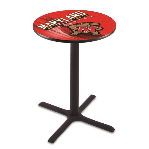 "42"" Black Wrinkle Maryland Pub Table with 28"" Dia Top; UPC: 071235831745"